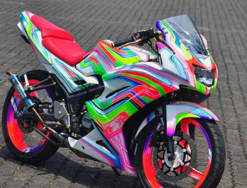 Modifikasi Motor Kawasaki Ninja 150RR Full Airbrush Jreng  Modifikasi